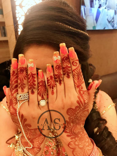 Asees Salon, Best Nail Extension in Ghaziabad, bridal nails